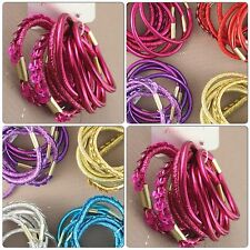 PACK OF 8 BRIGHT COLOURED ELASTICS 4 SHINY 2 GLITTER & 2 SEQUIN IN A PACK