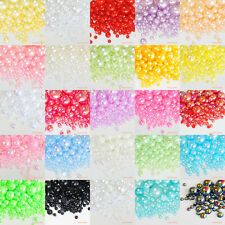 550pcs Mixed 3-10mm Fantasy AB Colors Half Pearl Round Flatback Scrapbook Nail