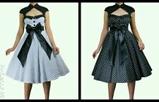 Vintage 1950s 60s Swing Rockabilly Black White Polka Dot Evening Party Dress N81