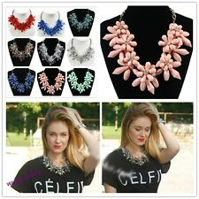 Graceful Gorgeous Cluster Crystal Statement Necklace Women Bib Choker New