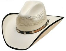 Western Montrose Bangora Straw Cowboy Hat w/ Diamond Star Band White - S,M,L,XL