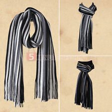 Vogue Classical Men Knitted Cotton Tassels Stripe Scarf Warm Long Wrap Scarves