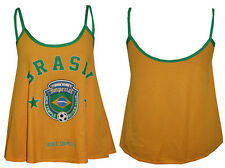 New Women's Ladies Brazil Soccer Club Print Sleeveless Strappy Swing Top (8-14)