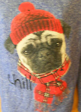 NEW JUNIORS BLUE  LONG SLEEVE SWEATER PUG DOG   SMALL