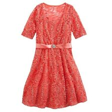 My Michelle dress sequin lace coral girls kids size 10, 12 NEW