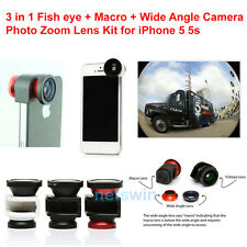 Photo Camera Zoom Lens Kit 3 in 1 Fish eye Macro Wide Angle for iPhone 5 5s