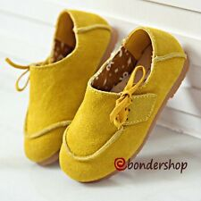 Boys Girls Genuine Nubuck Leather Soft Loafers Slip On Shoes Kids Casual Sneaker