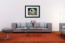 Rustic Crow Black Bird Night Full Moon Teal Cottage Chic Matted Picture USA A550