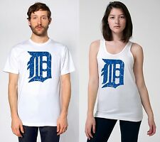 detroit tigers old english D (blue logo, distressed)  - 100% cotton