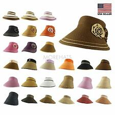 Roll Up Adjustable Visor Golf Beach Straw Summer Sun Cap Wide Brim Hat Women Men