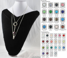 Ladies slide chain necklaces, large round slide & chain accent, various options