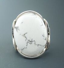 Large Sterling Silver Howlite Cabochon Wire Wrapped Ring