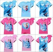 New Disney Girls Kids Frozen Princess Elsa&Anna Short Sleeve Top T-Shirt Clothes
