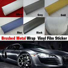 Brushed Car Wrap Vinyl Steel Film Vehicle Roll Sticker DIY Bubble Air Free New