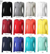 Ever77 Women's Crew Neck Button Down Long Sleeve Thin Sweater Cardigan / TC1004