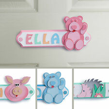 Personalised Wooden Letters Name Plaque Door Sign - PINK BEAR