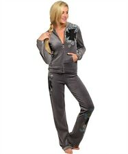 Plus Size Sexy Charcoal Cross Track Suit Pants Velour Hoodie Jacket 1X 2X 3X