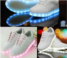 Womens new round toe lace up Luminous USB charging light Sneakers Sport Shoes