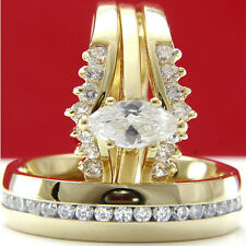 Gold plated 0.9Ct marquise cut CZ engagement wedding bridal ring set