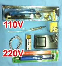 Soldering Iron Gun Core Solder Wire Desoldering Vacuum Rosin 60W 8 pcs Kit Set