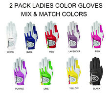 Ladies 2 Pk Zero Friction Compression-Fit Golf Glove 7 Colors One Size Fits All