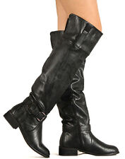 Nature Breeze Olympia-05 New Women Leatherette Buckle Round Toe Thigh High Boot
