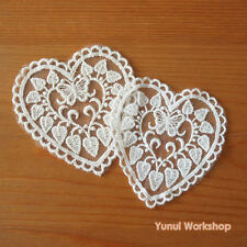 2 pcs: Heart Shaped Embroidery Lace Applique Swirling Vine & Butterfly
