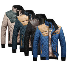Hot sell Men's Quilted Jacket Cotton-padded leather Winter Slim Coat