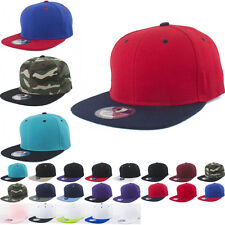 Classic Plain Snapback Flat Bill Hat Acrylic Baseball Cap Snap Back Solid Color