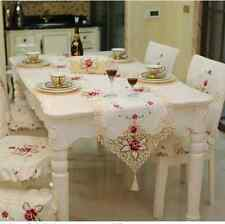 Modern Elegant Dining Table Runners Rustic Embroidery Floral Coffee Table Runner