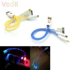 3in1 30pin LED Light USB Charge Charging Cable for iPhone 5 4 Samsung S4 Note 3