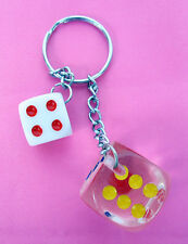 LOT OF 3,6,12 KEY CHAINS-2 DICE WITH KEY CHAINS, CASINO GAMBLING KEY RING-KC2764