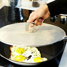 Stainless Steel Frying Pan Splatter Screen with Folding Handle Oil Proofing Lid