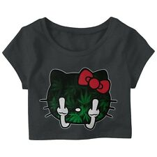 Kitty Gang Middle Finger Pot Leaf Women's Crop Top Hello kitty Tokyo Ratchet XO