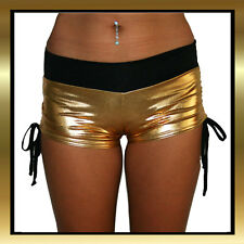 Wet Look Gold Pole Dancing/Yoga/Crossfit Gym Shorts with Black Bank and Ties