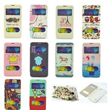 Smart View Window Cartoon Leather Flip Case Cover With Stand For Mobile Phones
