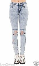 NEW Women's Ladies Skinny Fit Distressed Ripped Jeans Blue Acid Wash Lace Knee