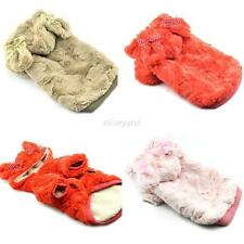 Cute Pet Dog Winter Padded Clothes Plush Jacket Coat Rabbit Bow Hoodie Sweater