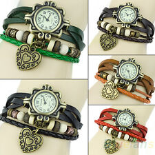 Womens Chic Stylish Retro Leather Bracelet Heart Decoration Quartz Wrist Watch