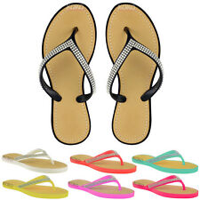 WOMENS LADIES DIAMANTE FLIP FLOPS JELLY SANDALS SUMMER BEACH TOE POST SHOES SIZE