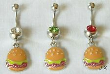 Surgical Steel 1 Pc colorful Hamburger Fast Food Burger Dangle Navel Belly Ring