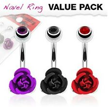 3 Pcs Lot Assorted Color CZ Top Colored Metal Roses Flower Navel Belly Rings
