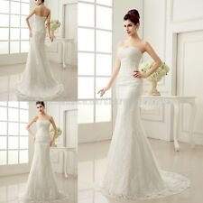 New White/ivory lace Wedding dress Bridal Gown stock size 6-8-10-12-14-16-18-20