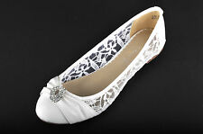 Off White Lace Diamante Wedding Ballerina Bridal Flat Pumps 3 4 5 6 7 7.5