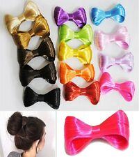 Fashion Women Various Solid Colors Fake Hair Like Barrette Bow Bun Hairpiece