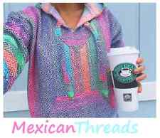 Baja Hoodie Mexican Drug Rug Jacket Pink Purple Blue Multi Mexican Threads S-3XL