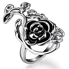 Hot! New Style Fashion Silver Plated Flower Rose Vintage Black Leaves Ring R888