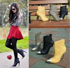 2014 Womens Elegent Metal Pointy Toe High Heels Stiletto Ankle Boots Shoes Pumps