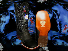 WILD WEST SQUARE BLACK GENUINE SHARK RODEO WESTERN COWBOY BOOT 2828405