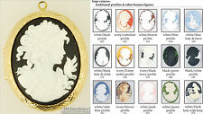 Large oval locket, people-themed cameos, with matching necklace option